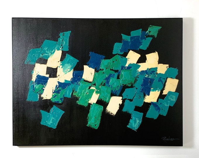 49x37 Mid Century Modern Abstract Original Signed Painting 1960's