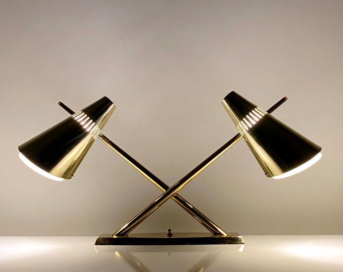 Laurel Brass and Glass Dual Cone Desk Lamp 1960s