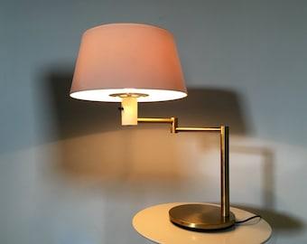 Rare Vintage Gerald Thurston For Lightolier Mid Century Modern Brass Swing Arm Table Desk Lamp