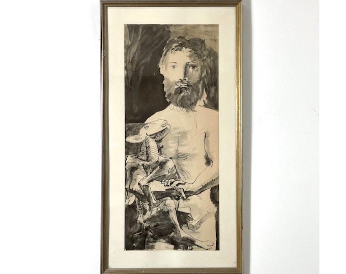 Vintage Pablo Picasso Etude Pour Le Mouton Lithograph 1960s
