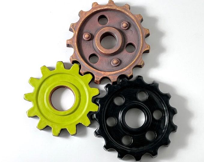Set of 3 Studio Pottery Wall Hanging Gear Sculptures