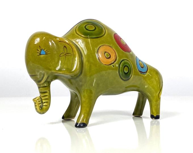 Mid Century Ceramic Elephant Sculpture 1970s