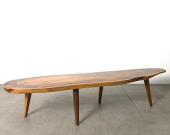 Vintage Live Edge Monkey Pod Surfboard Coffee Table, 1970's