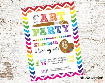Art Party Themed Birthday Party Invitation Printable 5x7 Boy or Girl
