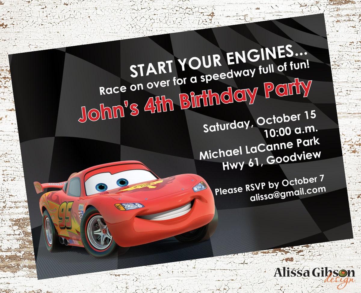 Lightning McQueen Birthday Party Invitation Printable 5x7