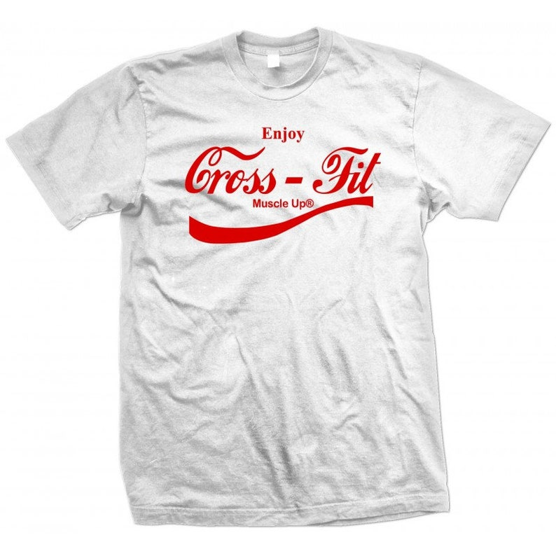 8912049adf2b1 Cross-Fit Muscle Up T-Shirt Red Print Coca-Cola parody
