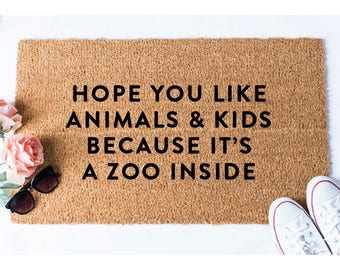 Animals and Kids Doormat - Dog Doormat - Funny Doormat - Funny Doormats - Welcome Mat - Goldendoodle Doormat - Funny Mat - Quote Doormat