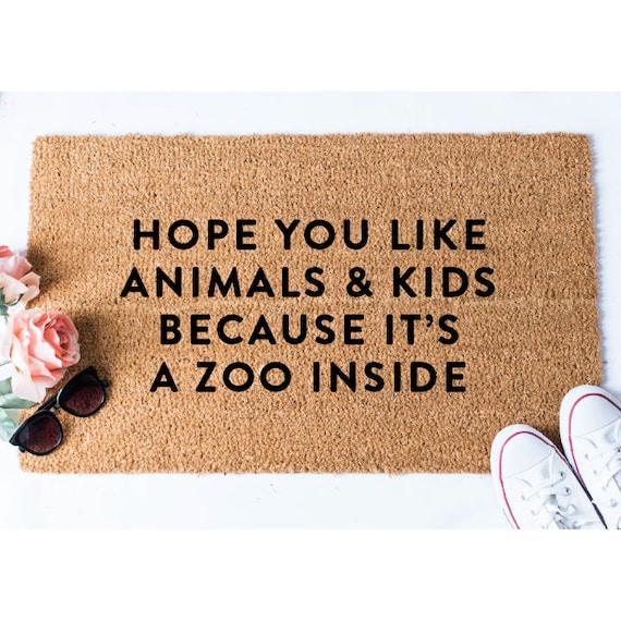 Animals And Kids Doormat Funny Doormat Dog Doormat Dog Lover Gift Funny Door Mat Welcome Mat Golden Doodle Doormat Cat Doormat Coir