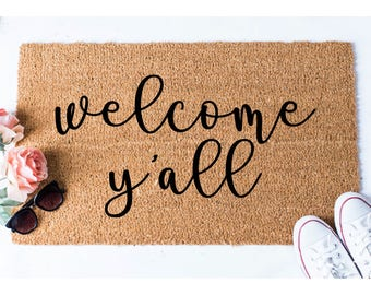 Welcome Y'all Doormat - Hello Doormat - Welcome Mat - Cute Door Mat - Custom Doormat - Unique Doormat - Hello Mat - Welcome Doormat - Rug