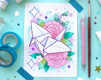 190313943 Kawaii Japanese Origami Paper Crane and Peonies Watercolor Tattoo Flash  PRINT by Michelle Coffee