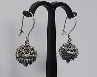 a50eb1562 Traditional Croatian Earrings, Dubrovnik Filigree Ball Hook Earrings,  Sterling Silver Filigree Earrings, Oxidized Dark Silver Earrings