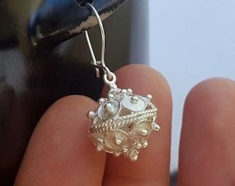 Filigree Ball Earrings, Earrings for Women, Dubrovnik Earrings, Solid Sterling Silver Filigree Earrings, Croatian Earrings, Womens Earrings
