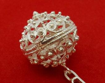 Traditional Croatian Jewelry, Dubrovnik Filigree Ball Pendant, Sterling Silver Ball Pendant, Filigree Pendant, Ethno Wedding Jewelry