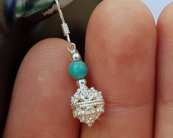 Traditional Croatian Dainty Turquoise Gemstone Filigree Ball Earrings, Dubrovnik Jewelry, Sterling Silver Ball Earrings, Bridesmaid Jewelry