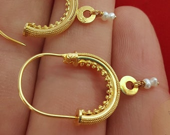 Traditional Croatian Solid Gold Hoop Earrings 14k, Dubrovnik - Konavle Wedding Jewelry, 14k Gold Filigree Hoops, White Pearl Dangle Hoops