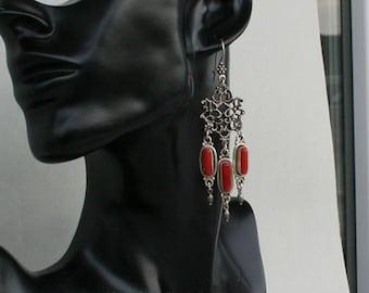 Large Red Coral Earrings, Sterling Silver Chandelier Earrings, Untreated Mediterranean Coral, Vintage Statement Earrings, Long Drop Earrings