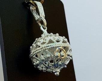 Traditional Croatian Filigree Ball Pendant, Dubrovnik Jewelry, Sterling Silver Ball Pendant, Croatian Ethnic Jewelry, Opt. Dainty Necklace