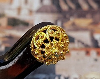 Simple Gold Earrings, 14k Gold Stud Earrings, Traditional Croatian Ethnic Earrings, Gold Filigree Studs, Dubrovnik Earrings  Bridal Earrings