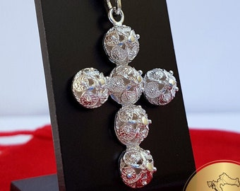 Traditional Croatian Cross Pendant, Minimalist Filigree Cross Pendant, Sterling Silver Dainty Metalwork Cross, Wedding Jewelry, Dubrovnik