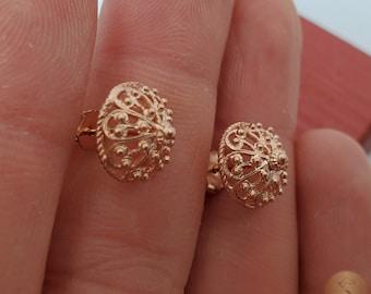 Traditional Croatian Rose Gold Earrings, Solid 14k Pink Gold Filigree Studs, Dubrovnik Filigree Half Ball 14k Gold Studs, Wedding Earrings