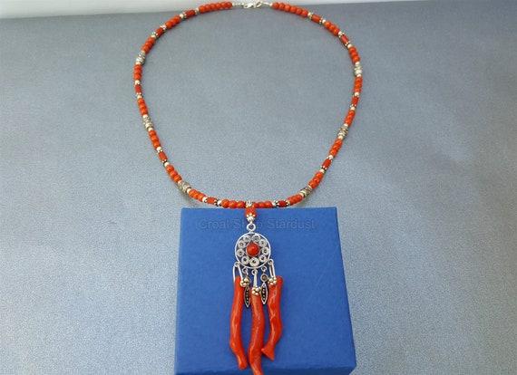salvare 1ec63 f64f5 Collana di corallo rosso Mediterraneo, unico ramo di corallo collana,  collana pendente filigrana in argento Sterling, gioielli in corallo  naturale,