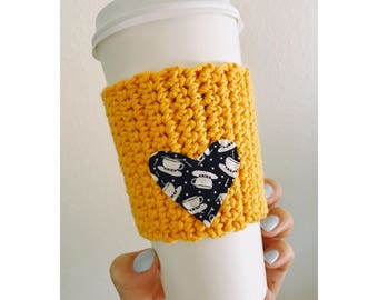 Yellow Knitted Coffee Cozy | Eco-friendly Coffee Cozy | Heart Coffee Cozy | Coffee Cozy
