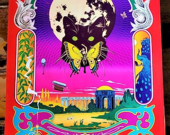 """Vintage 1968 psychedelic """"Butterfly Woman"""" Poster by Bob Fried, The Food 24""""x34"""""""