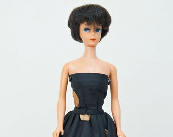 1961 Mattel Raven Bubble Cut Barbie No. 850 With Black and Gold Gown