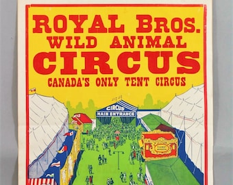 """Vintage Royal Brothers Wild Animal Circus Tent, Coca-Cola Lithograph Poster/Proof 21""""x 28"""""""