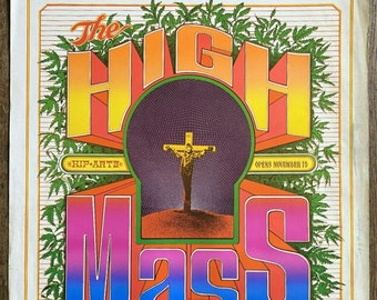 """Vintage 1967 Poster for """"The High Mass"""" at Purple Onion Two in San Francisco by Bob Fried, Nov. 15, 1967, The Food, The Family Dog, 22""""x 26"""""""