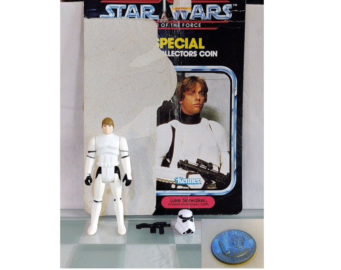 Featured listing image: 1985 POTF Last 17 Kenner Star Wars Stormtrooper Luke With Full Original Cardback and Coin, Repro Helmet and Blaster. POTF