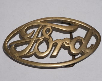 Vintage brass Ford open script belt buckle