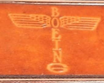 "Vintage, Elegant Boeing ""Totem"" style logo leather belt buckle by El Cid, 1970s"