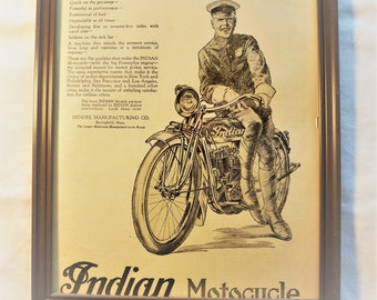 "Original 1919 Indian Motorcycle ""The MotorCop's Mount"" Advertising, RARE"