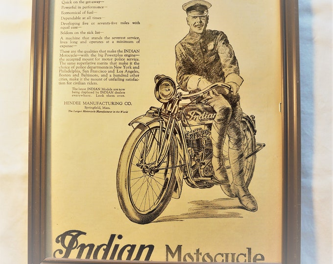 """Featured listing image: Original 1919 Indian Motorcycle """"The MotorCop's Mount"""" Advertising, RARE"""