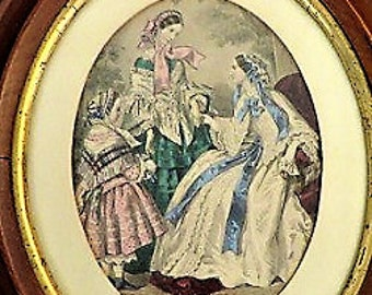 Antique framed 1850s-1860s hand-colored French fashion plate Magasin des Demoiselles