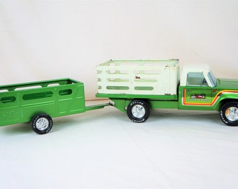 Nylint Farms Ford Pickup With Trailer, 70s, Metallic Emerald Green