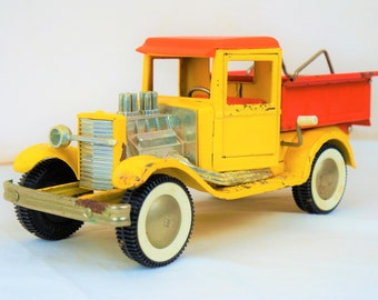 Buddy L No. 4252 Ol Buddys Surf-N-Dump Hot Rod Ford Model T Pickup 1969, Yellow and Orange With Whitewalls, Chrome Velocity Stacks, Headers