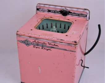 """1950s Pink Pressed Steel Wolverine Automatic Washer Spin Dryer """"Just Like Mom's,"""" Adorable"""