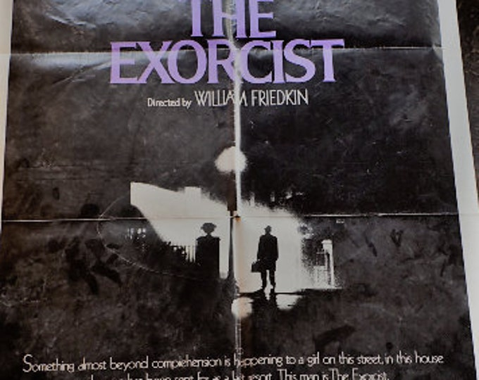 Featured listing image: 1974 The Exorcist movie theatre one sheet.  Bring this . . . into your home. But have an old priest and a young priest.