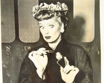 "Vintage B/W Studio Shot of Lucille Ball from ""I Love Lucy"""