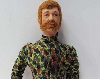 Vintage Hasbro 1970 Sea Adventurer 12 Inch GI Joe Flocked Red Hair and Beard with Land Adventurer Camouflage Fatigues
