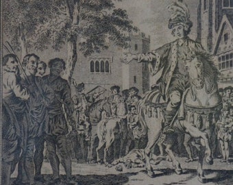 Antique Print of Richard II Appeasing the death of Wat Tyler, Engraved for Harrisons History of London 1800's