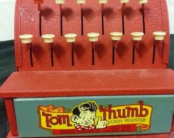 Vintage Steel Tom Thumb Toy Cash Register, Red