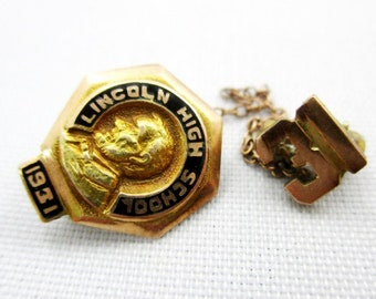 Class of 1931 Lincoln High School class pin set 2.1 grams 14K gold
