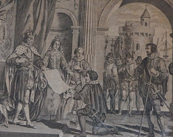 Antique 1783 print of Columbus presenting his discovery of America to the King and Queen of Spain