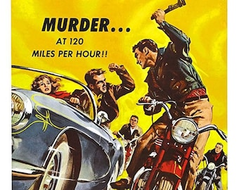 "1958 Dragstrip Riot movie lobby card ""Murder ... at 120 Miles Per Hour!"""