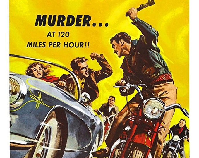 "Featured listing image: 1958 Dragstrip Riot movie lobby card ""Murder ... at 120 Miles Per Hour!"""