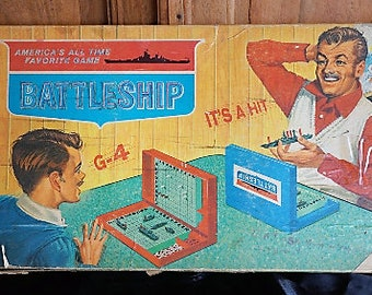 """Vintage 1967 Milton Bradley Battleship board game -- ironically inscribed """"Peace, Love, and War"""""""