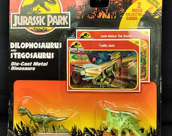 1993 Kenner Jurassic Park Die Cast Stegosauraus and Dilophosaurus Mint on Card With Collector Cards, MOC